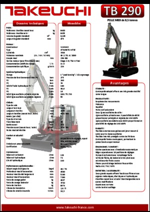 detailed tb290 takeuchi fr technical specification in 1. Black Bedroom Furniture Sets. Home Design Ideas