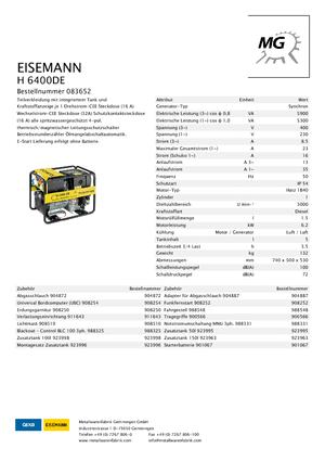 Dizel jeneratörler 3000 Eisemann H 6400 DE
