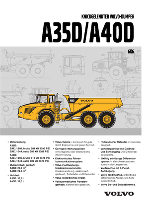 Detailed A40D 6x6 Volvo - DE technical specification in 1 pdf | Lectura Specs