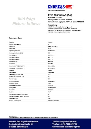 Jeneratörler 1500 Endress ESE 280 VW/AS