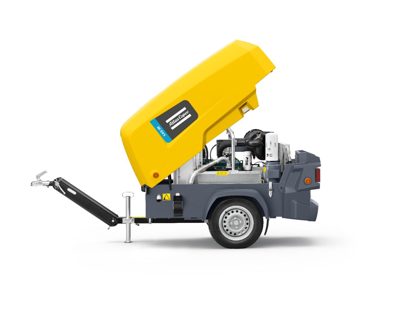 Volume flow: 5m³ – Max. pressure: 7bar – Weight: 649kg – Transport length:  1.94m – Transport width: 1.16m – Transport height: 1.05m. Atlas Copco
